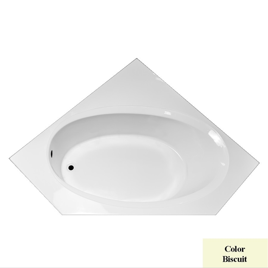 Laurel Mountain Vandale Biscuit Acrylic Corner Drop-in Bathtub with Left-Hand Drain (Common: 60-in x 60-in; Actual: 25.25-in x 59.25-in x 59.25-in