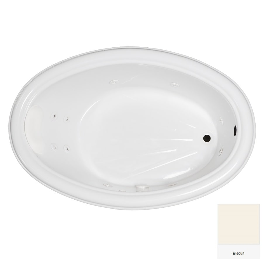Laurel Mountain Zetta Biscuit Acrylic Oval Whirlpool Tub (Common: 40-in x 60-in; Actual: 21.25-in x 40-in x 59.75-in)