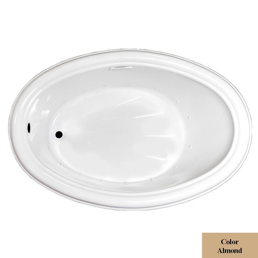 Laurel Mountain Zetta 60-in L x 40-in W x 21.25-in H Almond Acrylic Oval Drop-in Air Bath