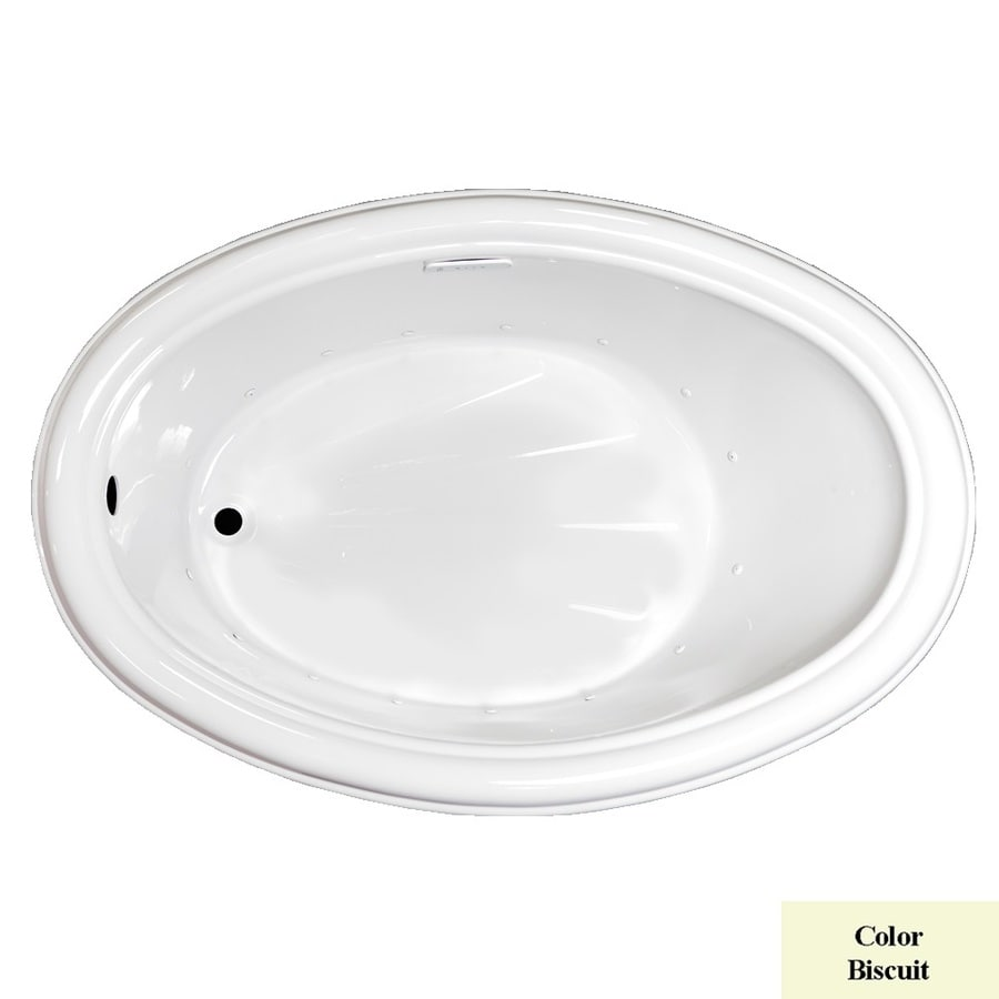 Laurel Mountain Zetta 60-in L x 40-in W x 21.25-in H Biscuit Acrylic Oval Drop-in Air Bath