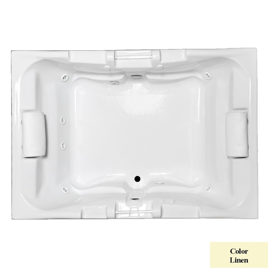 Laurel Mountain Delmont I Deluxe 2-Person Linen Acrylic Rectangular Whirlpool Tub (Common: 42-in x 60-in; Actual: 23-in x 41.75-in x 59.625-in)