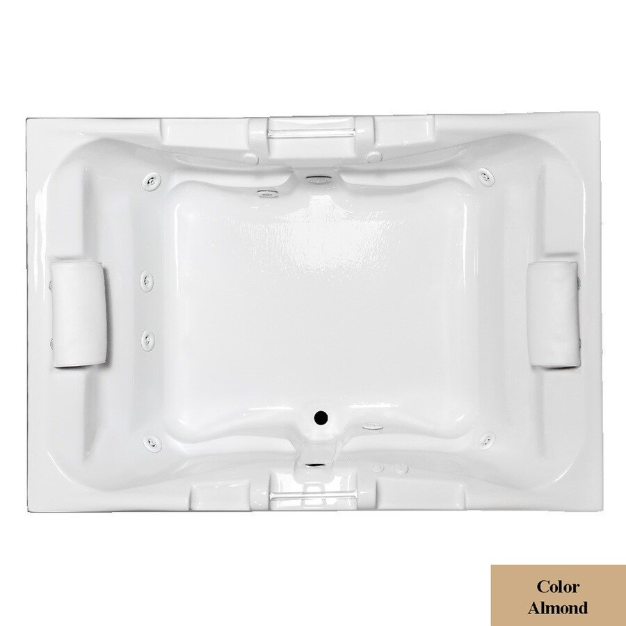 Laurel Mountain Delmont Ii Deluxe 2-Person Almond Acrylic Rectangular Whirlpool Tub (Common: 48-in x 72-in; Actual: 23-in x 48-in x 71.25-in)