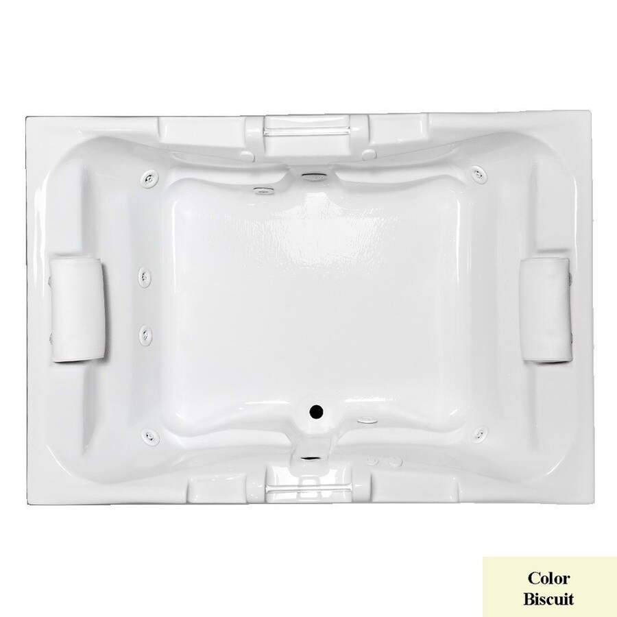 Laurel Mountain Delmont Ii Deluxe 2-Person Biscuit Acrylic Rectangular Whirlpool Tub (Common: 48-in x 72-in; Actual: 23-in x 48-in x 71.25-in)