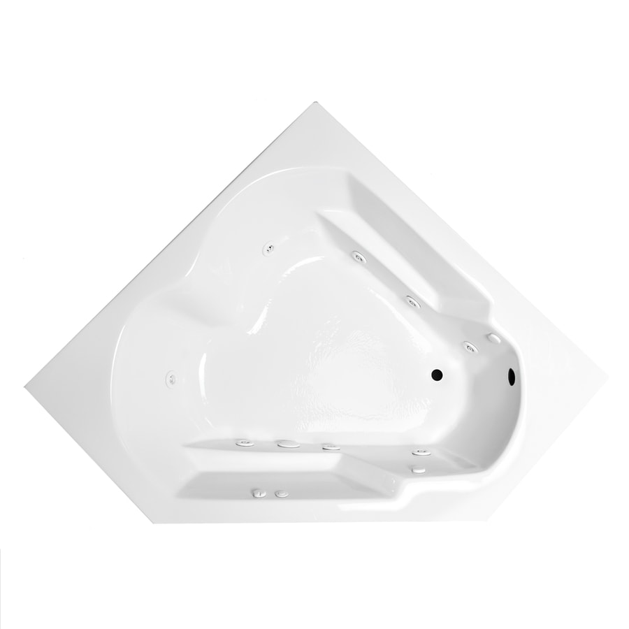 Laurel Mountain Dual Corner Right Hand Deluxe 2-Person White Acrylic Corner Whirlpool Tub (Common: 60-in x 60-in; Actual: 20-in x 59.625-in x 59.625-in)