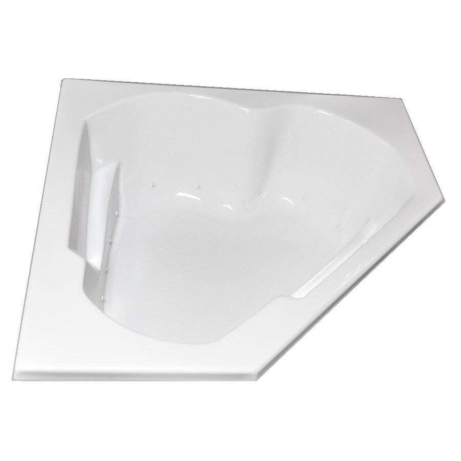 Laurel Mountain Dual Corner Left Hand Deluxe 2-Person White Acrylic Corner Whirlpool Tub (Common: 60-in x 60-in; Actual: 20-in x 59.625-in x 59.625-in)