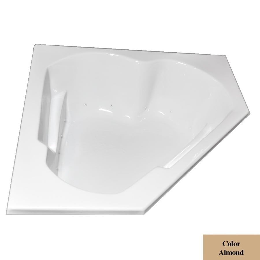 Laurel Mountain Dual Corner Left Handdeluxe 2-Person Almond Acrylic Corner Whirlpool Tub (Common: 60-in x 60-in; Actual: 20-in x 59.625-in x 59.625-in)