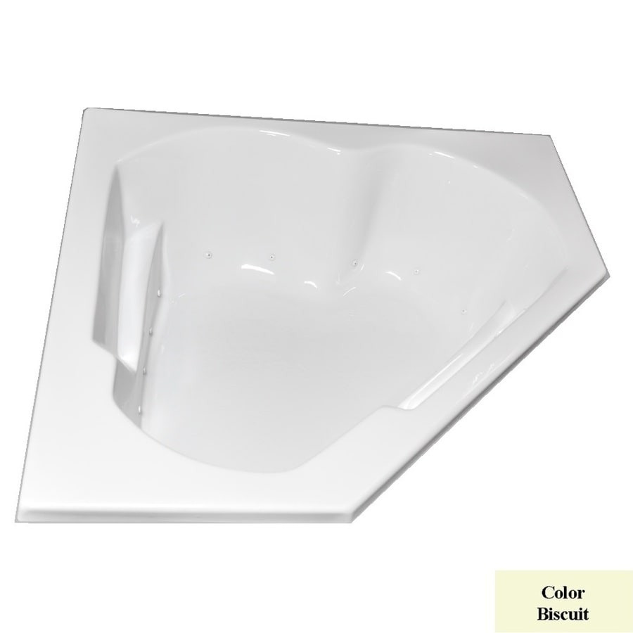 Laurel Mountain Dual Corner Left Hand Deluxe 2-Person Biscuit Acrylic Corner Whirlpool Tub (Common: 60-in x 60-in; Actual: 20-in x 59.625-in x 59.625-in)
