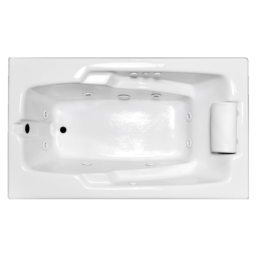 Laurel Mountain Mercer Iii Deluxe 1-Person White Acrylic Rectangular Whirlpool Tub (Common: 36-in x 72-in; Actual: 21.5-in x 36-in x 72-in)