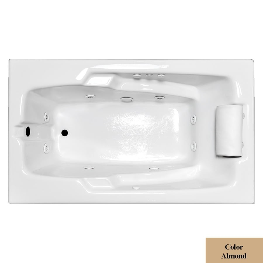 Laurel Mountain Mercer Iii Deluxe 1-Person Almond Acrylic Rectangular Whirlpool Tub (Common: 36-in x 72-in; Actual: 21.5-in x 36-in x 72-in)