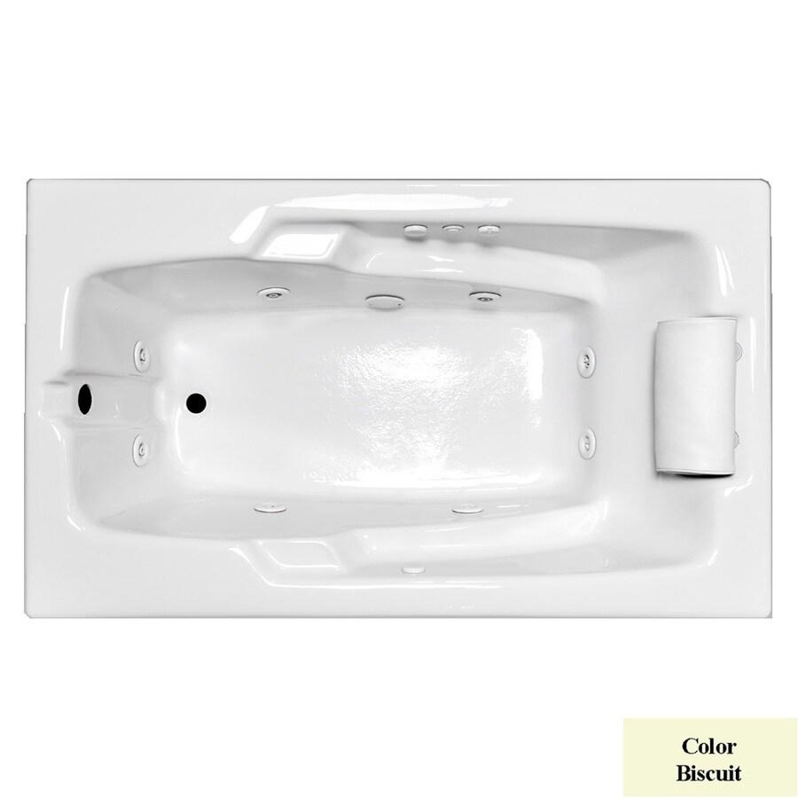 Laurel Mountain Mercer Iii Deluxe 1-Person Biscuit Acrylic Rectangular Whirlpool Tub (Common: 36-in x 72-in; Actual: 21.5-in x 36-in x 72-in)