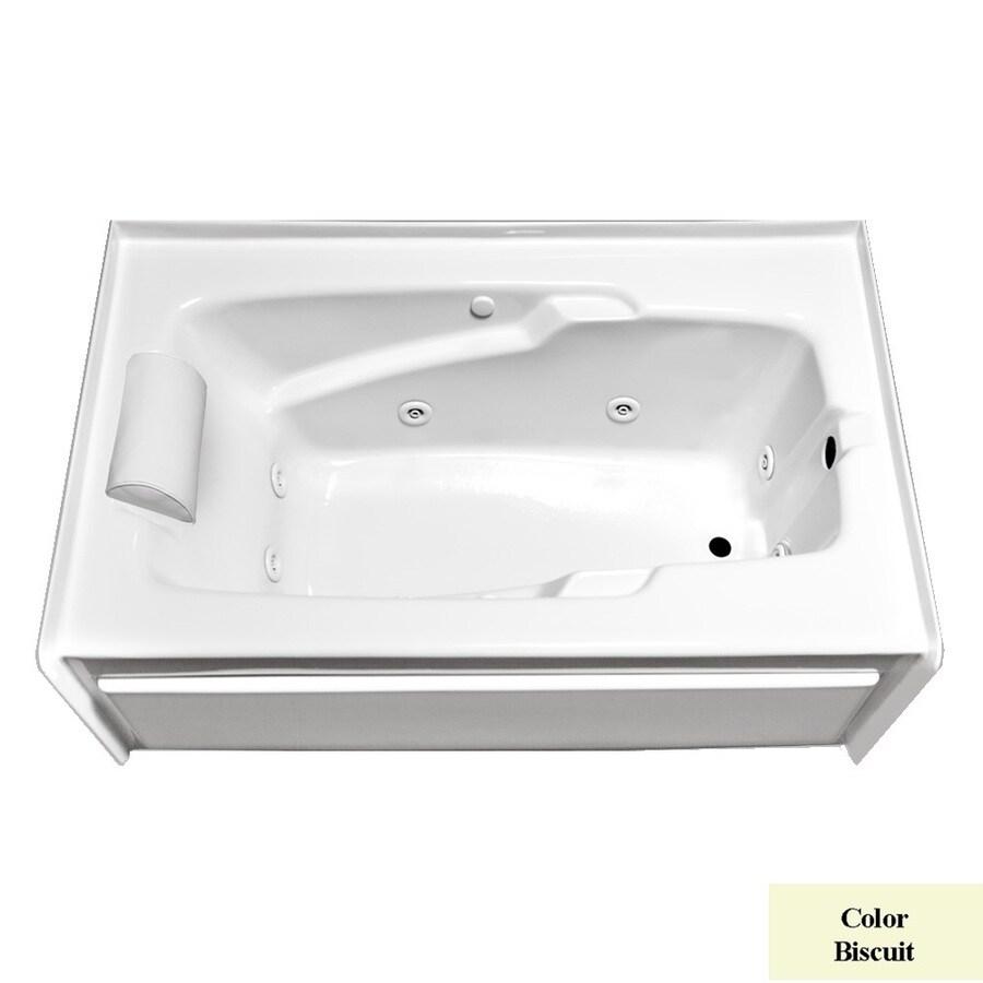 Laurel Mountain Mercer Vi Deluxe 1-Person Biscuit Acrylic Rectangular Whirlpool Tub (Common: 36-in x 72-in; Actual: 21.5-in x 36-in x 72-in)