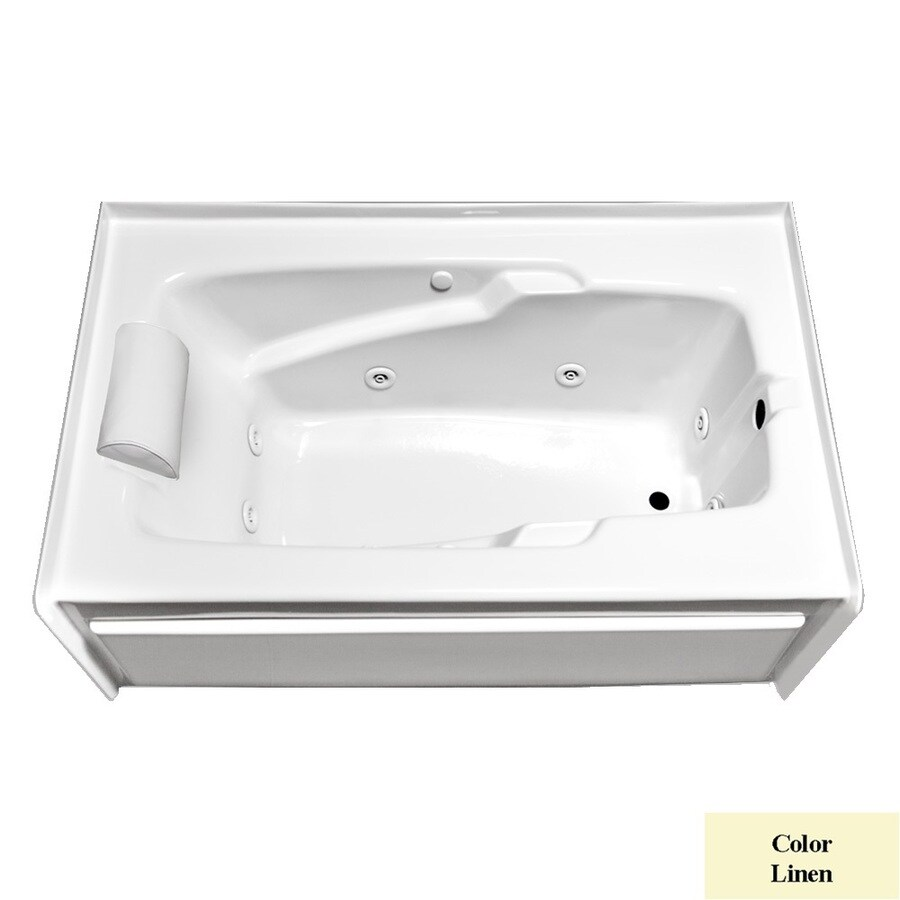 Laurel Mountain Mercer Vi Deluxe Right Hand 1-Person Linen Acrylic Rectangular Whirlpool Tub (Common: 36-in x 72-in; Actual: 21.5-in x 36-in x 72-in)