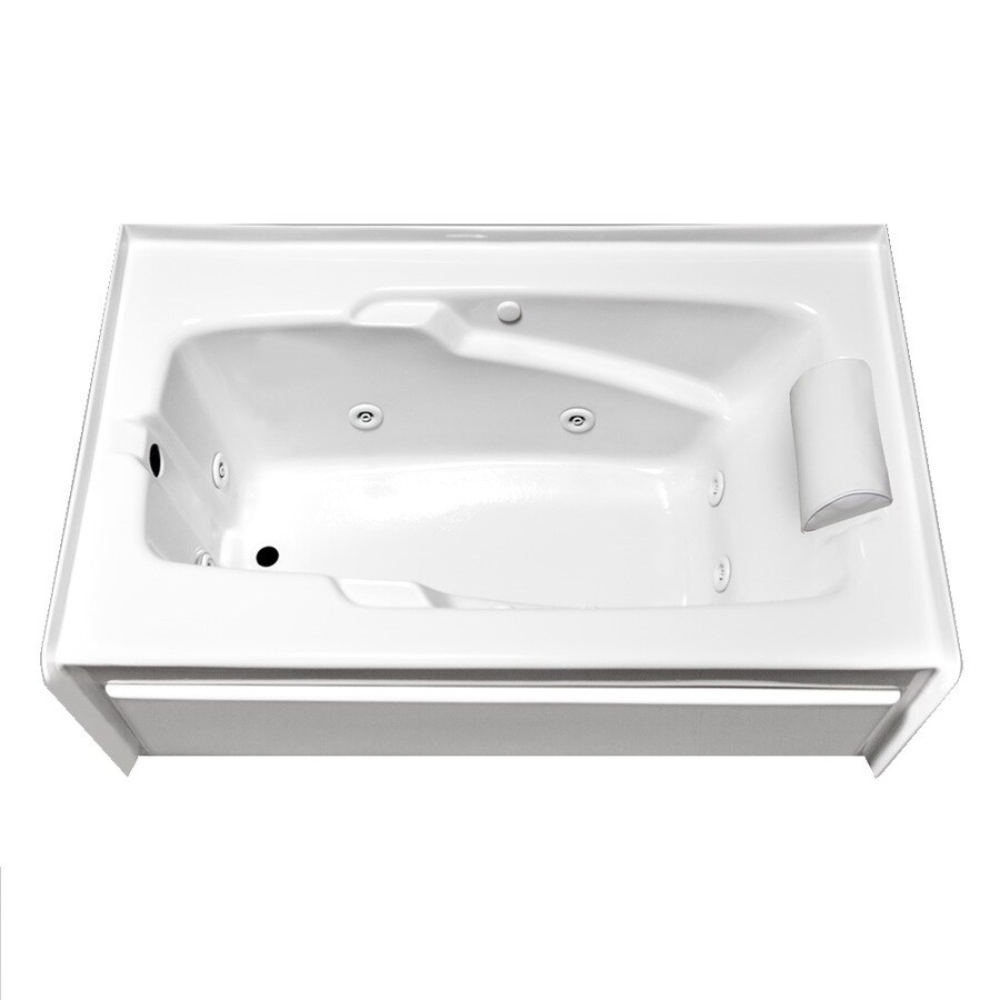 Laurel Mountain Mercer Vi Deluxe Left Hand Drain 1-Person White Acrylic Rectangular Whirlpool Tub (Common: 36-in x 72-in; Actual: 21.5-in x 36-in x 72-in)