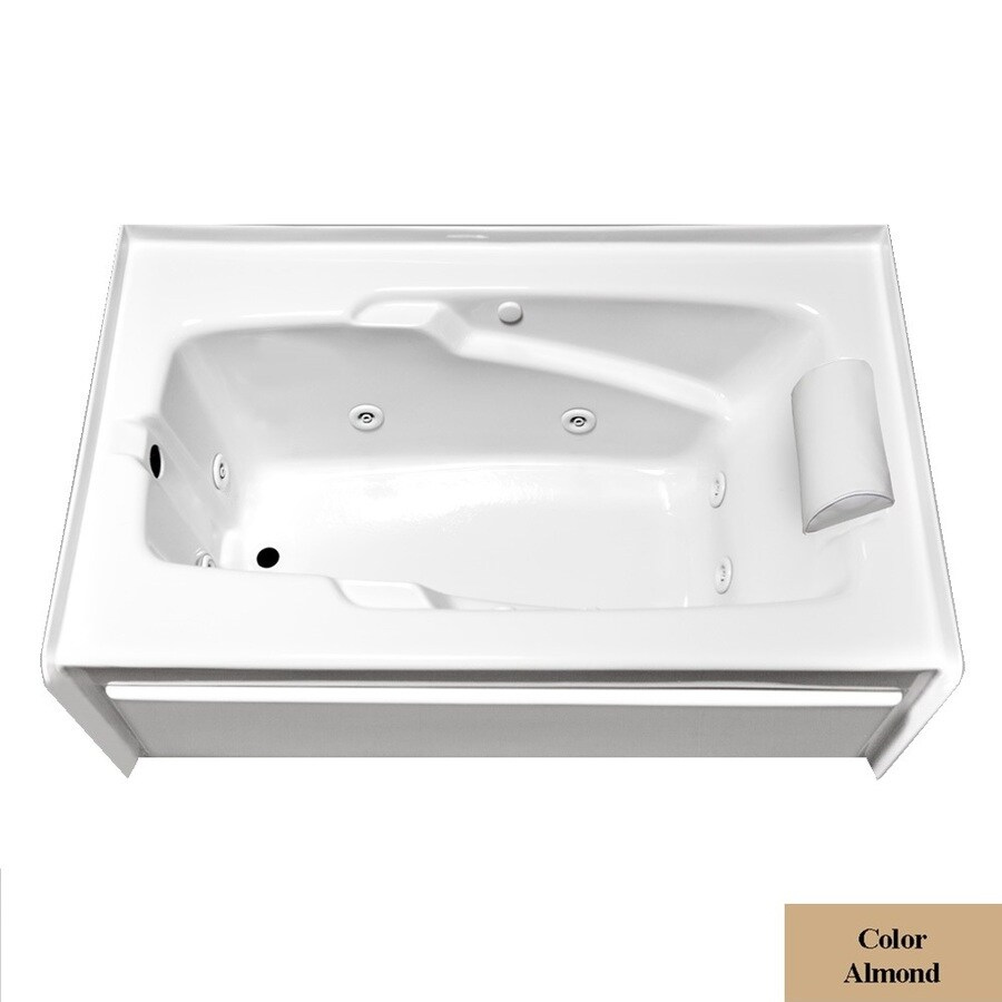 Laurel Mountain Mercer Vi Deluxe Left Hand Drain 1-Person Almond Acrylic Rectangular Whirlpool Tub (Common: 36-in x 72-in; Actual: 21.5-in x 36-in x 72-in)
