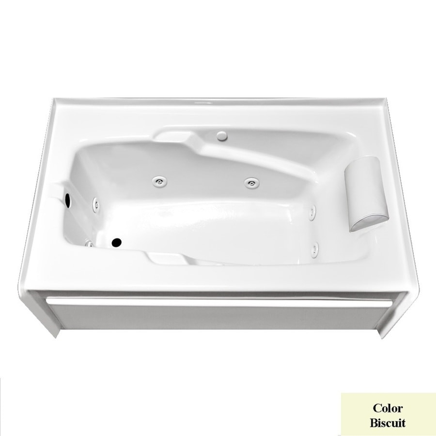 Laurel Mountain Mercer Vi Deluxe Left Hand Drain 1-Person Biscuit Acrylic Rectangular Whirlpool Tub (Common: 36-in x 72-in; Actual: 21.5-in x 36-in x 72-in)