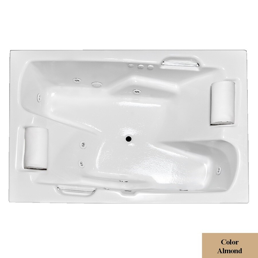 Laurel Mountain Oakmont I Deluxe 2-Person Almond Acrylic Rectangular Whirlpool Tub (Common: 48-in x 72-in; Actual: 26-in x 48-in x 72-in)
