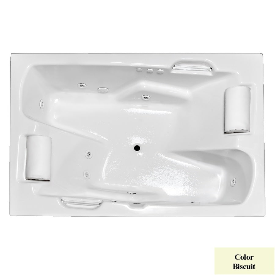 Laurel Mountain Oakmont I Deluxe 2-Person Biscuit Acrylic Rectangular Whirlpool Tub (Common: 48-in x 72-in; Actual: 26-in x 48-in x 72-in)