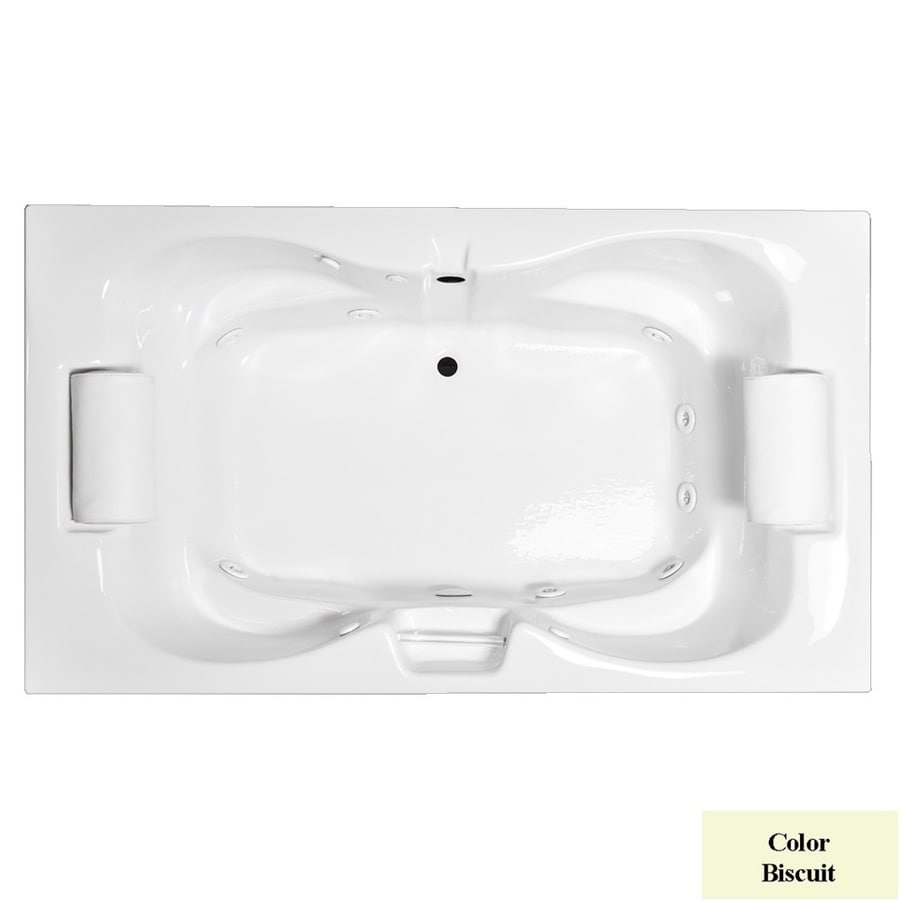 Laurel Mountain Seneca Iii Deluxe 2-Person Biscuit Acrylic Hourglass In Rectangle Whirlpool Tub (Common: 48-in x 72-in; Actual: 23-in x 48-in x 72-in)
