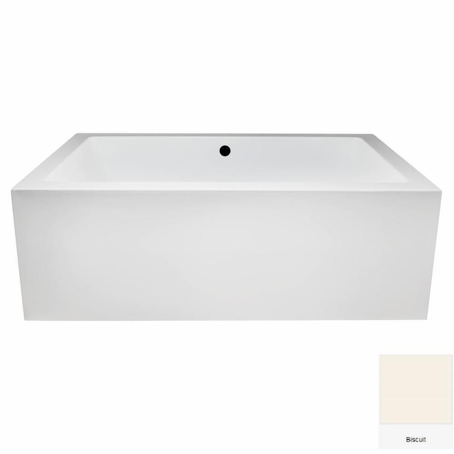 Laurel Mountain Berks II 72-in Biscuit Acrylic Freestanding Whirlpool Tub with Front Center Drain