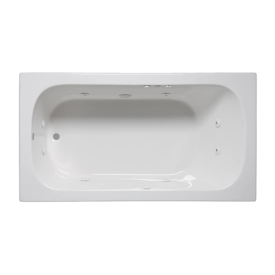Laurel Mountain Butler I 60-in White Acrylic Drop-In Whirlpool Tub with Reversible Drain