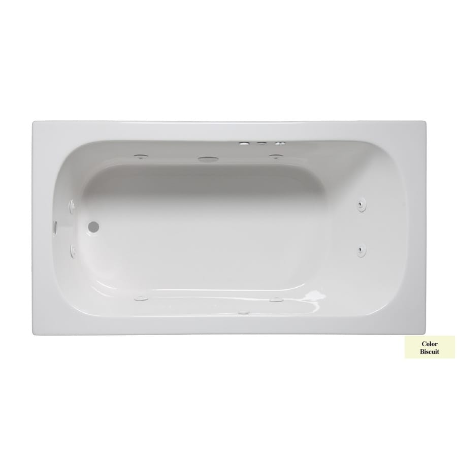 Laurel Mountain Butler I 60-in Biscuit Acrylic Drop-In Whirlpool Tub with Reversible Drain