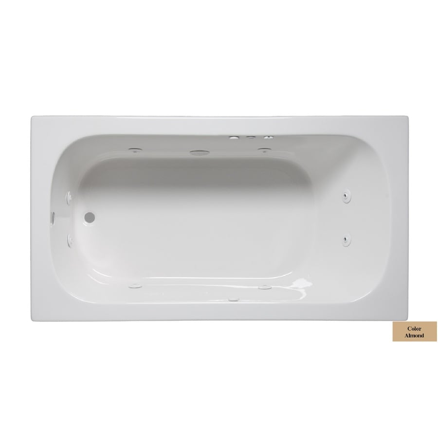 Laurel Mountain Butler IV 72-in Almond Acrylic Drop-In Whirlpool Tub with Reversible Drain