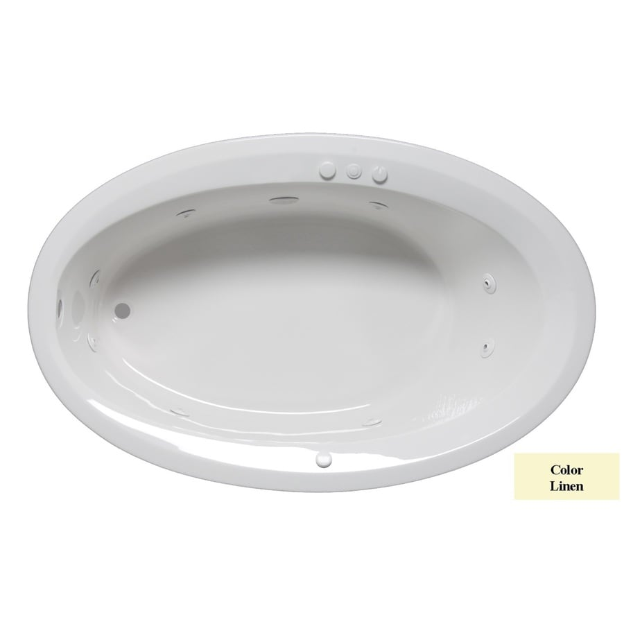 Laurel Mountain Corry I 60-in Linen Acrylic Drop-In Whirlpool Tub with Reversible Drain