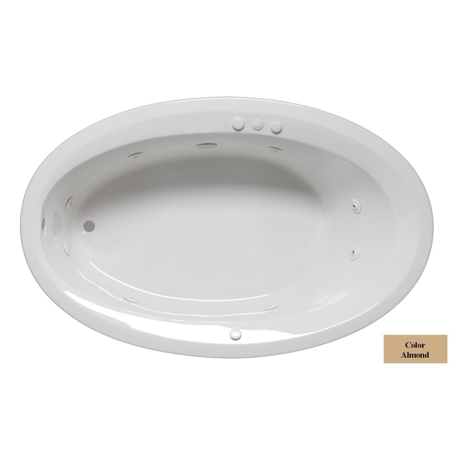 Laurel Mountain Corry Iii 1-Person Almond Acrylic Oval Whirlpool Tub (Common: 42-in x 66-in; Actual: 22-in x 42-in x 66-in)