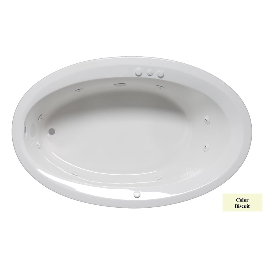 Laurel Mountain Corry III Biscuit Acrylic Oval Whirlpool Tub (Common: 42-in x 66-in; Actual: 22-in x 42-in x 66-in)