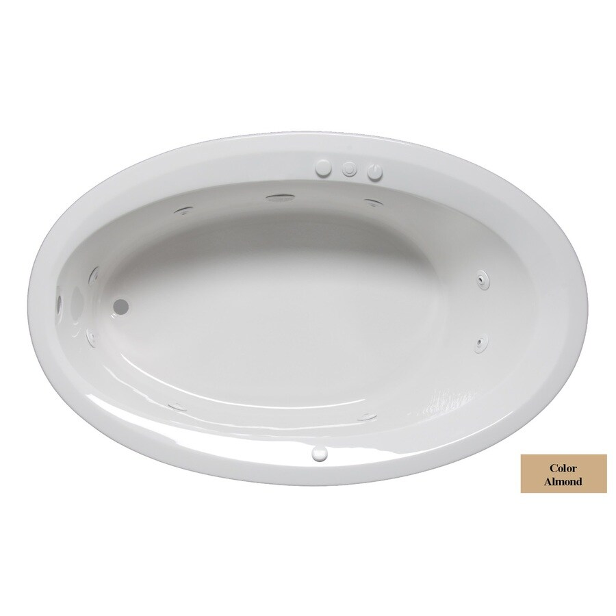 Laurel Mountain Corry Iv 1-Person Almond Acrylic Oval Whirlpool Tub (Common: 42-in x 72-in; Actual: 22-in x 42-in x 72-in)