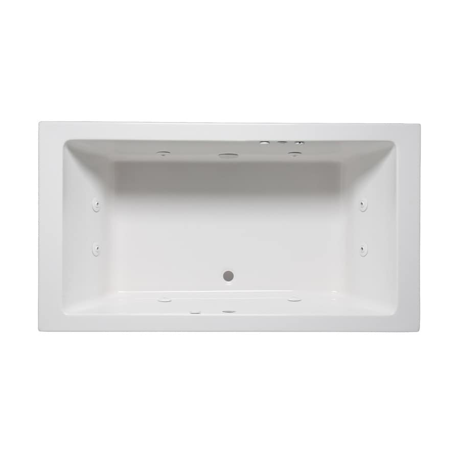 Laurel Mountain Farrell I 66-in White Acrylic Drop-In Whirlpool Tub with Front Center Drain
