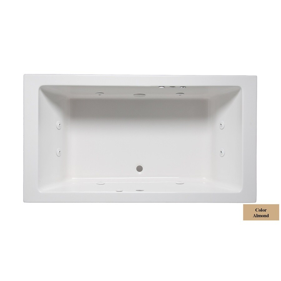 Laurel Mountain Farrell II 72-in Almond Acrylic Drop-In Whirlpool Tub with Front Center Drain