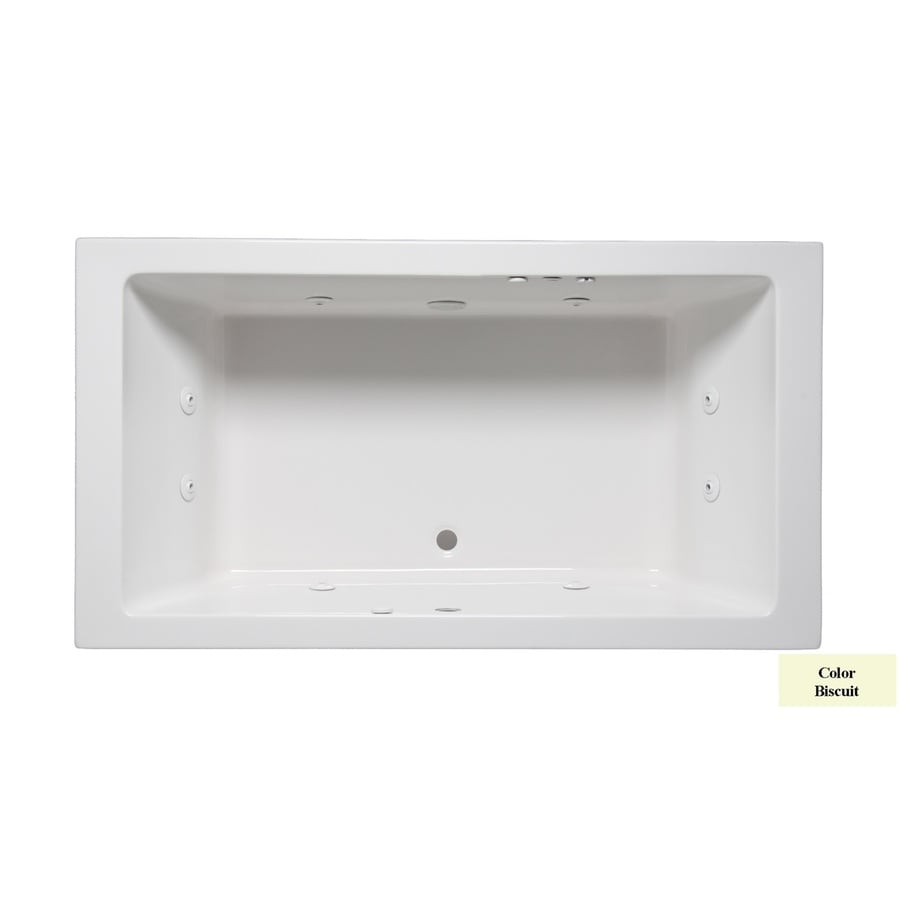 Laurel Mountain Farrell III 66-in Biscuit Acrylic Drop-In Whirlpool Tub with Front Center Drain