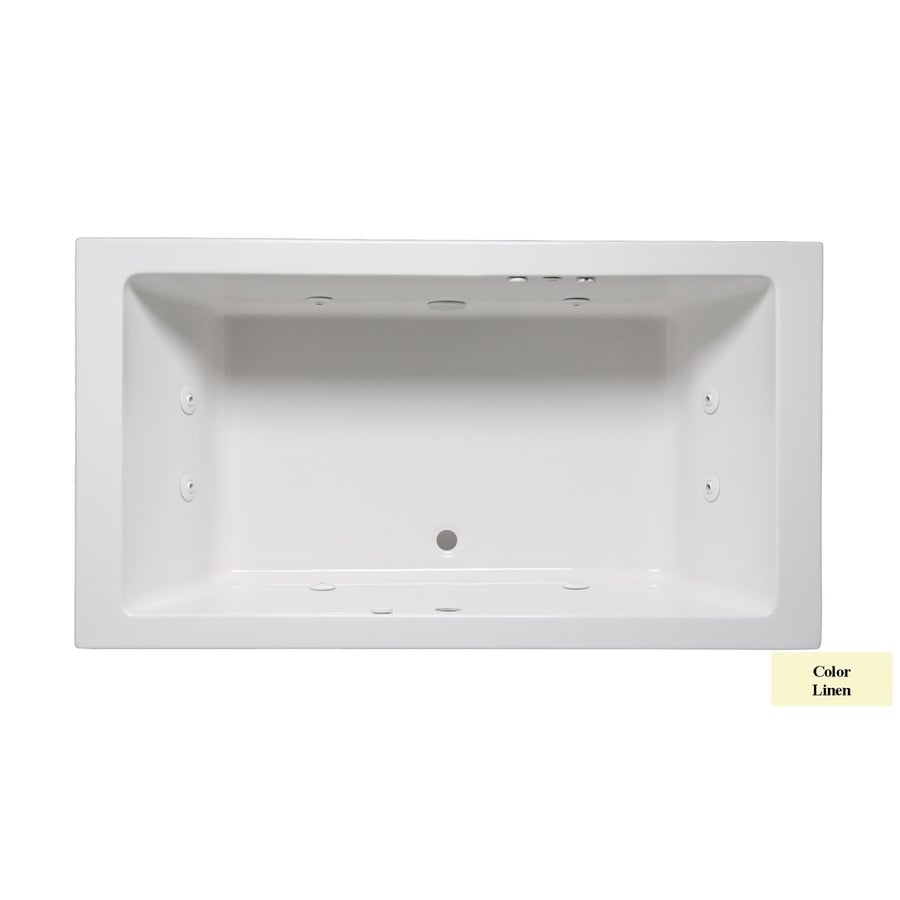 Laurel Mountain Farrell III 66-in Linen Acrylic Drop-In Whirlpool Tub with Front Center Drain