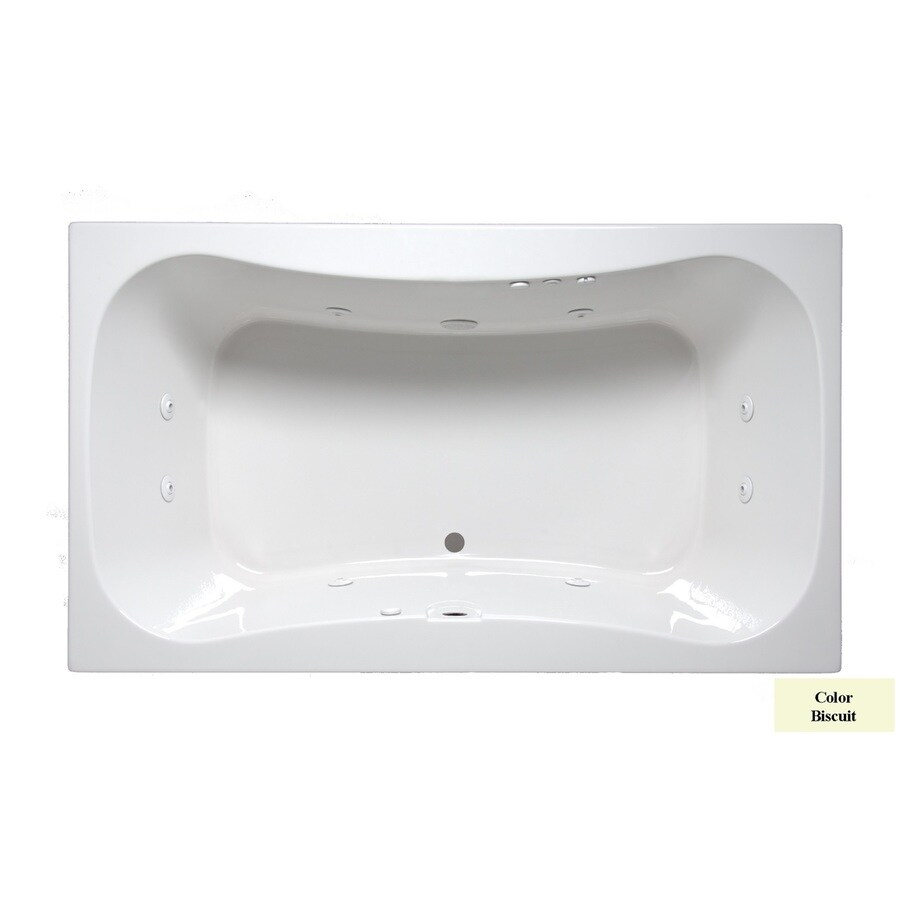 Laurel Mountain Masten I 60-in Biscuit Acrylic Drop-In Whirlpool Tub with Front Center Drain