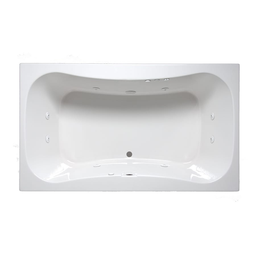 Laurel Mountain Masten II 72-in White Acrylic Drop-In Whirlpool Tub with Front Center Drain