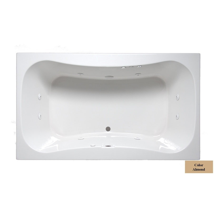 Laurel Mountain Masten Ii 2-Person Almond Acrylic Oval In Rectangle Whirlpool Tub (Common: 42-in x 72-in; Actual: 24-in x 42-in x 72-in)