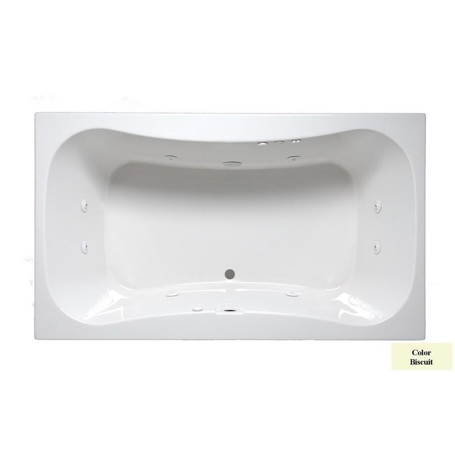 Laurel Mountain Masten II 72-in Biscuit Acrylic Drop-In Whirlpool Tub with Front Center Drain