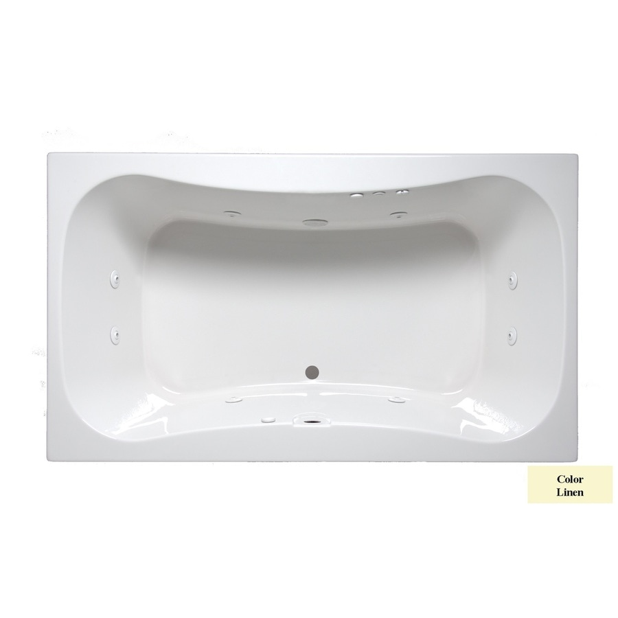 Laurel Mountain Masten Ii 2-Person Linen Acrylic Oval In Rectangle Whirlpool Tub (Common: 42-in x 72-in; Actual: 24-in x 42-in x 72-in)
