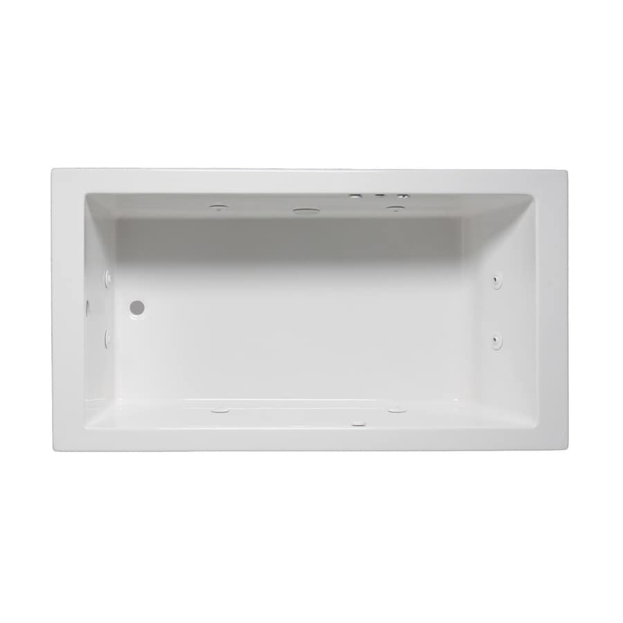 Laurel Mountain Parker I 60-in White Acrylic Drop-In Whirlpool Tub with Reversible Drain