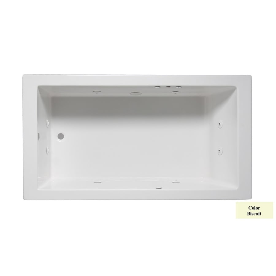 Laurel Mountain Parker I 60-in Biscuit Acrylic Drop-In Whirlpool Tub with Reversible Drain