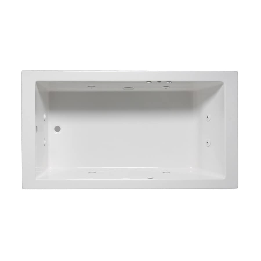 Laurel Mountain Parker III 66-in White Acrylic Drop-In Whirlpool Tub with Reversible Drain