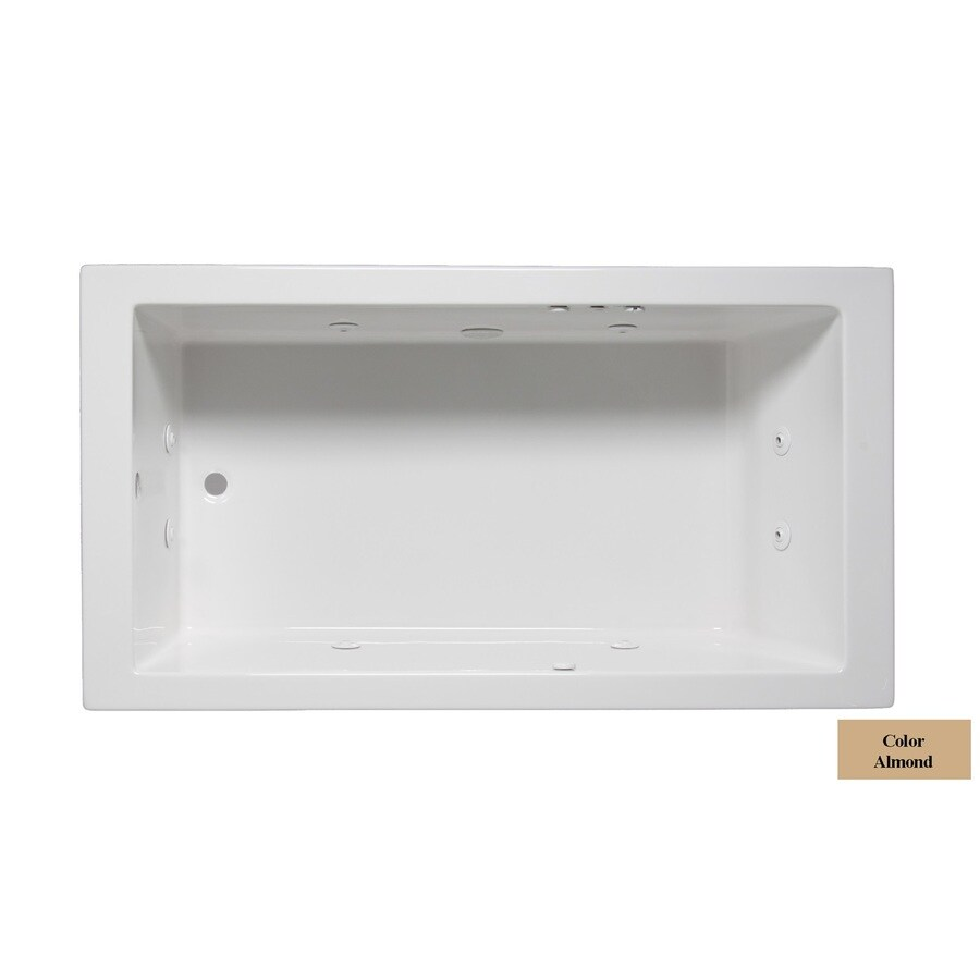 Laurel Mountain Parker III Almond Acrylic Rectangular Whirlpool Tub (Common: 32-in x 66-in; Actual: 22-in x 32-in x 66-in)