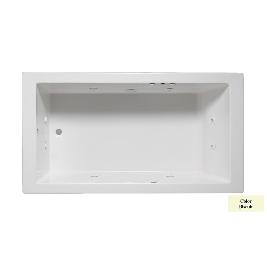 Laurel Mountain Parker III 66-in Biscuit Acrylic Drop-In Whirlpool Tub with Reversible Drain