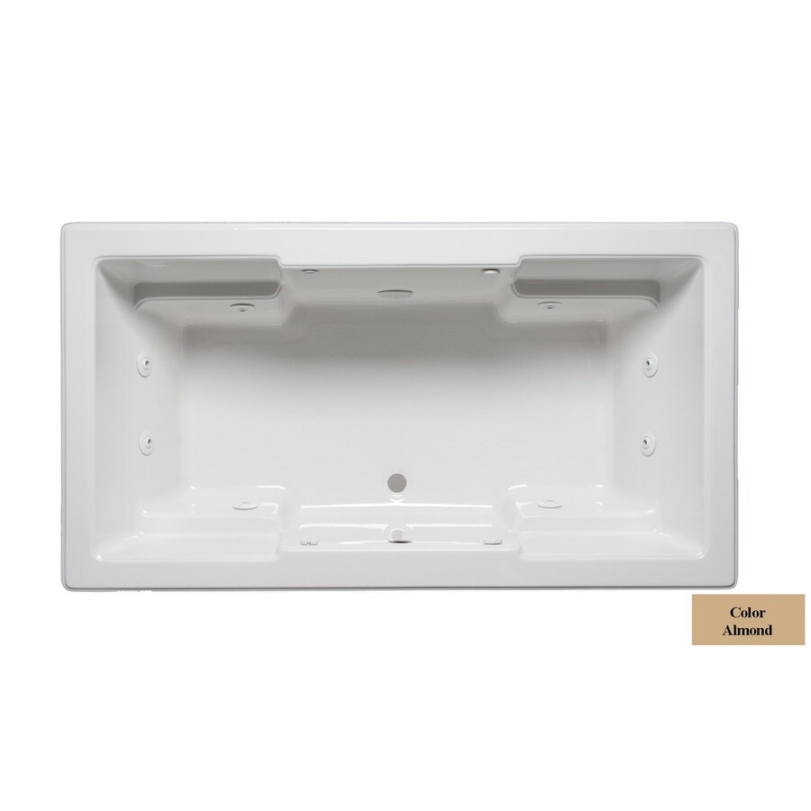 Laurel Mountain Reading 2-Person Almond Acrylic Rectangular Whirlpool Tub (Common: 42-in x 72-in; Actual: 22-in x 42-in x 72-in)