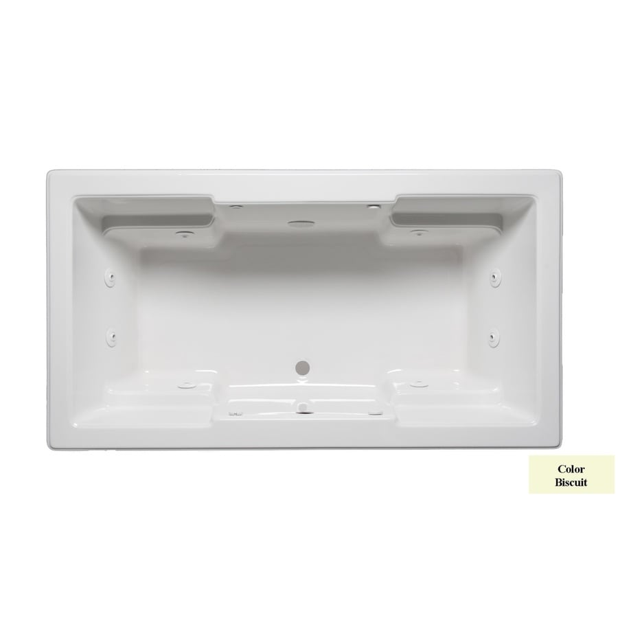 Laurel Mountain Reading 2-Person Biscuit Acrylic Rectangular Whirlpool Tub (Common: 42-in x 72-in; Actual: 22-in x 42-in x 72-in)