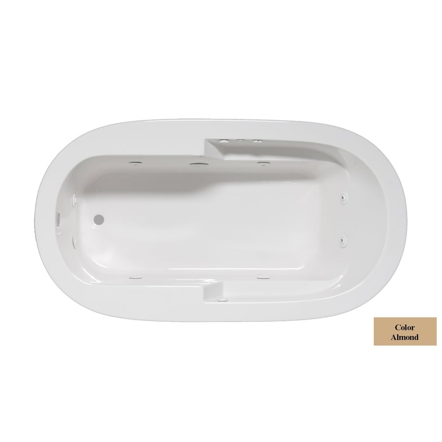Laurel Mountain Venango 1-Person Almond Acrylic Oval Whirlpool Tub (Common: 42-in x 72-in; Actual: 22-in x 42-in x 72-in)
