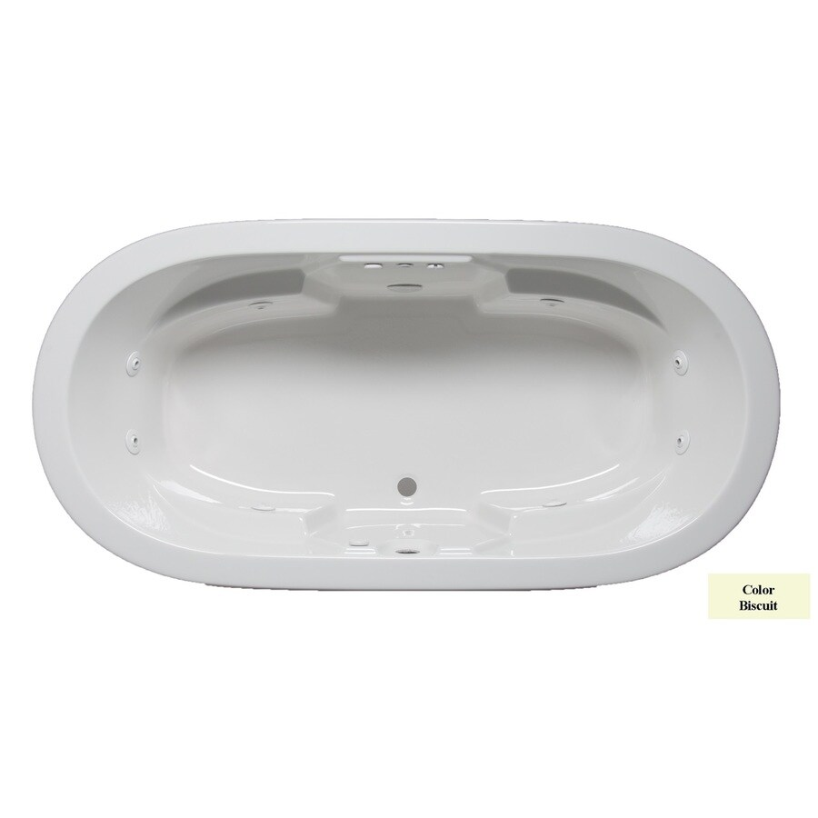 Laurel Mountain Warren II 72-in Biscuit Acrylic Drop-In Whirlpool Tub with Front Center Drain