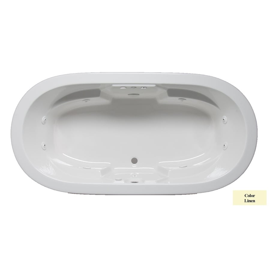 Laurel Mountain Warren 2-Person Linen Acrylic Oval Whirlpool Tub (Common: 36-in x 72-in; Actual: 22-in x 36-in x 72-in)