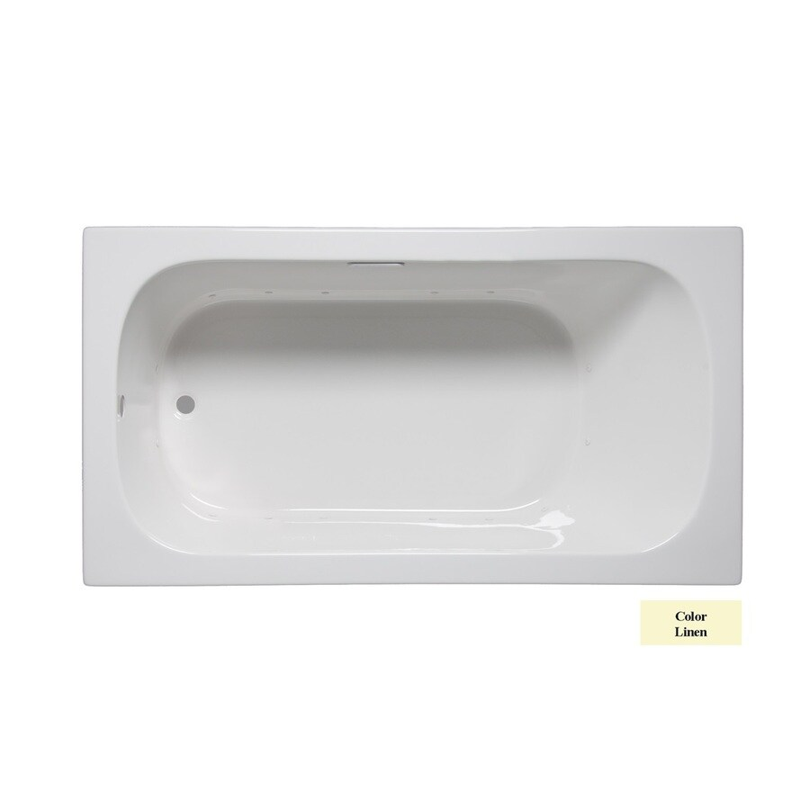 Laurel Mountain Butler I 60-in Linen Acrylic Drop-In Air Bath with Reversible Drain